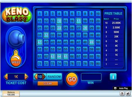 keno spelen in het online casino screenshot